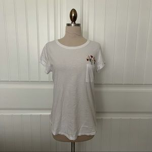 Abercrombie White Tee with Floral Embroidery